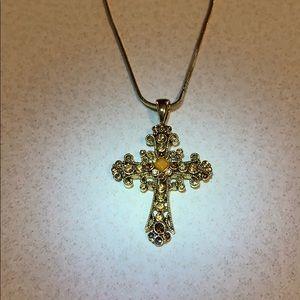 Lia Sophia gold tone rhinestone cross pendant